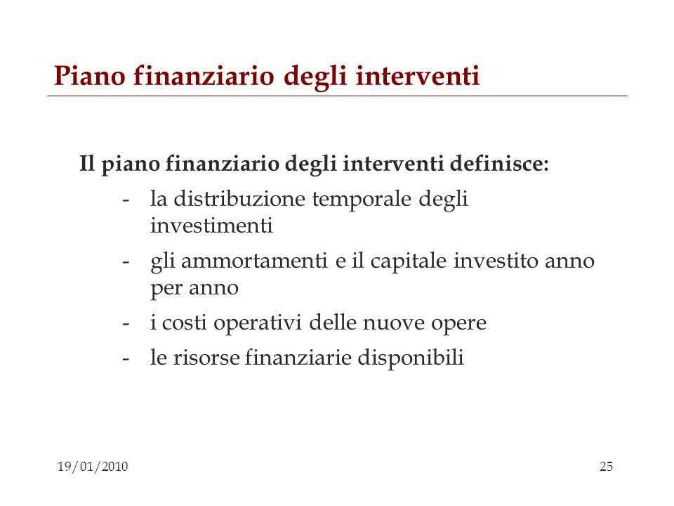 25 19/01/2010 Piano finanziario degli interventi Il piano finanziario degli interventi definisce: -la distribuzione temporale degli investimenti -gli