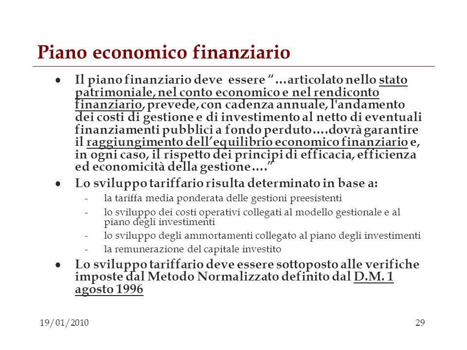 29 19/01/2010 Piano economico finanziario Il piano finanziario deve essere …articolato nello stato patrimoniale, nel conto economico e nel rendiconto