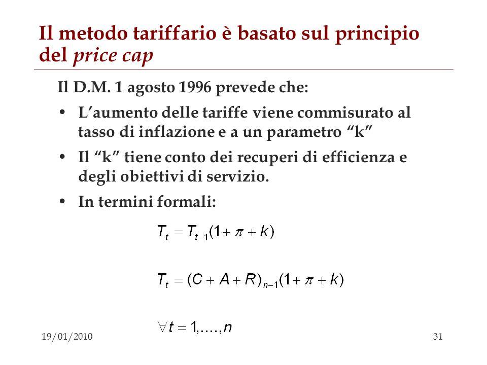 31 19/01/2010 Il metodo tariffario è basato sul principio del price cap Il D.M. 1 agosto 1996 prevede che: Laumento delle tariffe viene commisurato al
