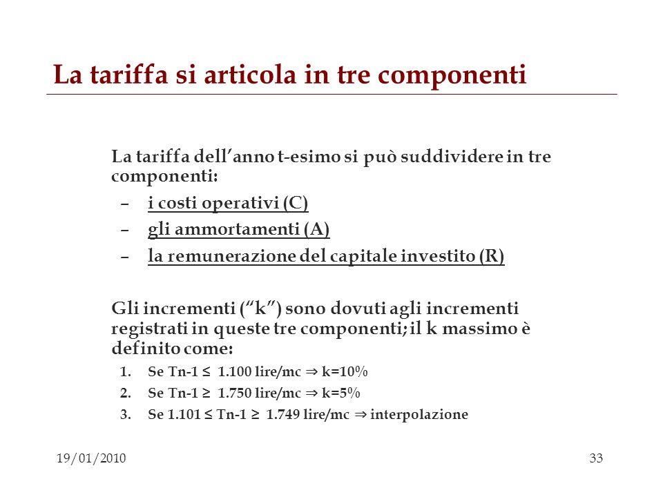 33 19/01/2010 La tariffa si articola in tre componenti La tariffa dellanno t-esimo si può suddividere in tre componenti: – i costi operativi (C) – gli