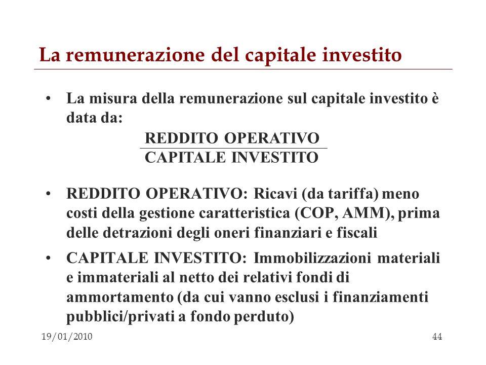 44 19/01/2010 La remunerazione del capitale investito La misura della remunerazione sul capitale investito è data da: REDDITO OPERATIVO: Ricavi (da ta