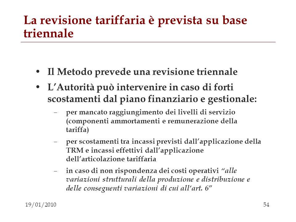 54 19/01/2010 La revisione tariffaria è prevista su base triennale Il Metodo prevede una revisione triennale LAutorità può intervenire in caso di fort