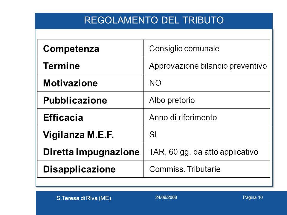 24/09/2008 S.Teresa di Riva (ME) Pagina 10 REGOLAMENTO DEL TRIBUTO Competenza Consiglio comunale Termine Approvazione bilancio preventivo Motivazione