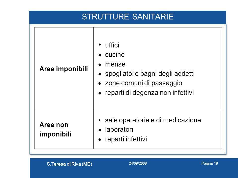 24/09/2008 S.Teresa di Riva (ME) Pagina 18 STRUTTURE SANITARIE Aree imponibili uffici cucine mense spogliatoi e bagni degli addetti zone comuni di pas