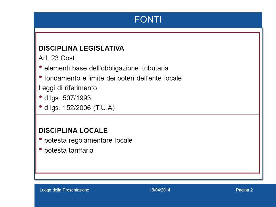 19/04/2014Luogo della PresentazionePagina 2 FONTI DISCIPLINA LEGISLATIVA Art. 23 Cost. elementi base dellobbligazione tributaria fondamento e limite d