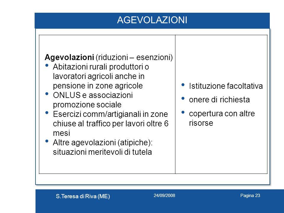 24/09/2008 S.Teresa di Riva (ME) Pagina 23 AGEVOLAZIONI Agevolazioni (riduzioni – esenzioni) Abitazioni rurali produttori o lavoratori agricoli anche