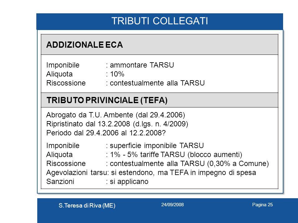 24/09/2008 S.Teresa di Riva (ME) Pagina 25 TRIBUTI COLLEGATI ADDIZIONALE ECA Imponibile: ammontare TARSU Aliquota: 10% Riscossione: contestualmente al