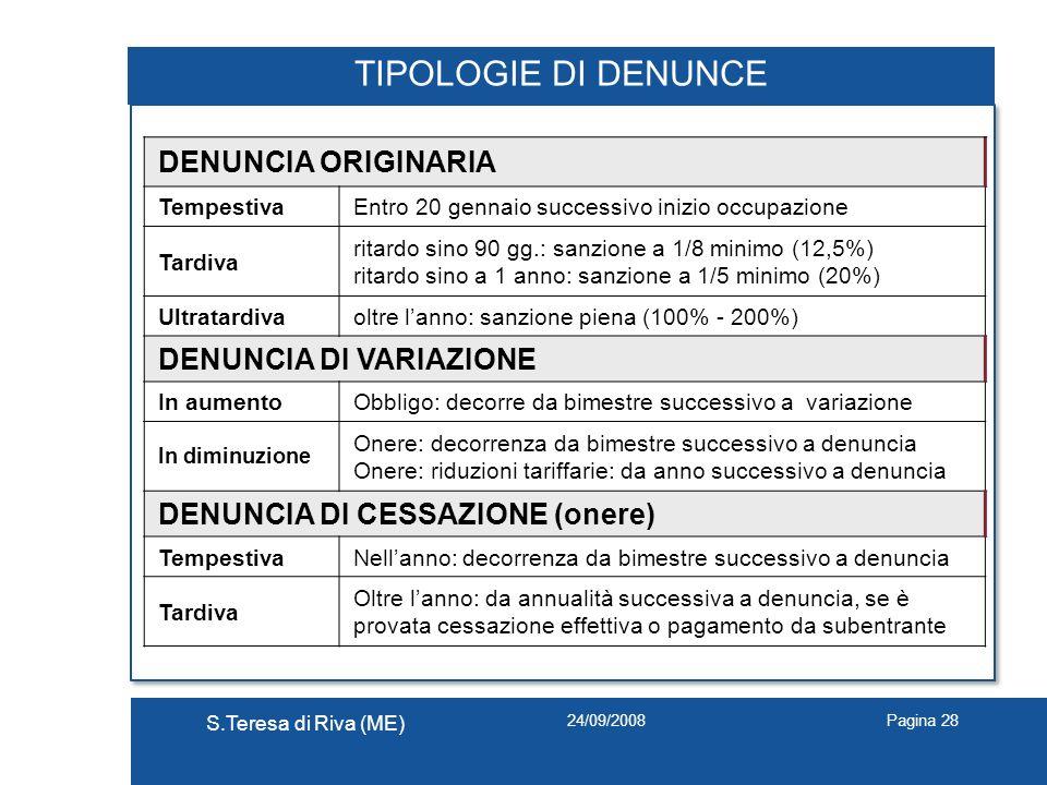 24/09/2008 S.Teresa di Riva (ME) Pagina 28 TIPOLOGIE DI DENUNCE DENUNCIA ORIGINARIA TempestivaEntro 20 gennaio successivo inizio occupazione Tardiva r