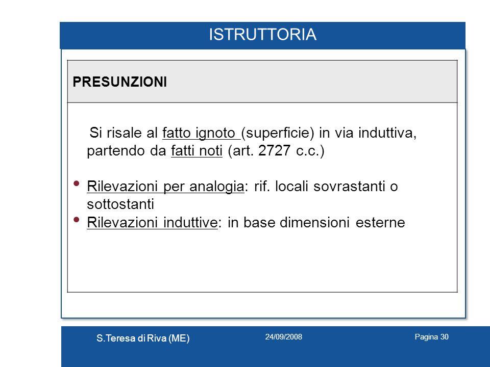 24/09/2008 S.Teresa di Riva (ME) Pagina 30 ISTRUTTORIA PRESUNZIONI Si risale al fatto ignoto (superficie) in via induttiva, partendo da fatti noti (ar