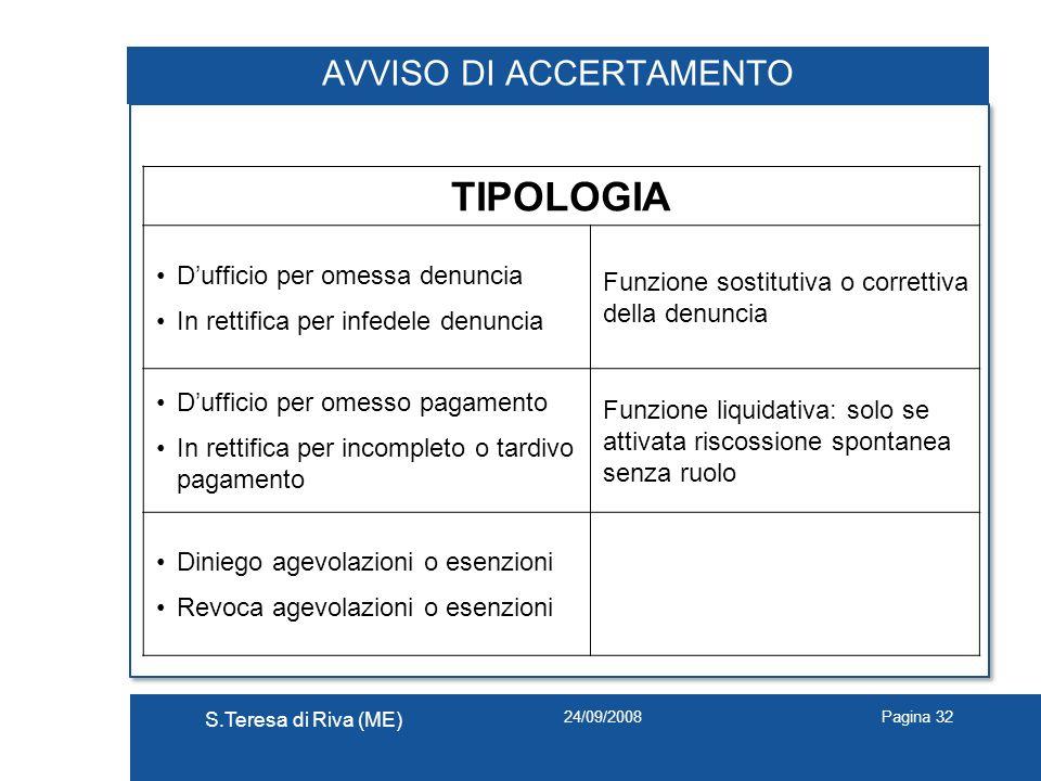 24/09/2008 S.Teresa di Riva (ME) Pagina 32 AVVISO DI ACCERTAMENTO TIPOLOGIA Dufficio per omessa denuncia In rettifica per infedele denuncia Funzione s