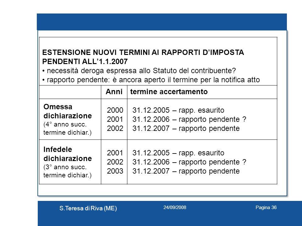 24/09/2008 S.Teresa di Riva (ME) Pagina 36 ESTENSIONE NUOVI TERMINI AI RAPPORTI DIMPOSTA PENDENTI ALL1.1.2007 necessità deroga espressa allo Statuto d