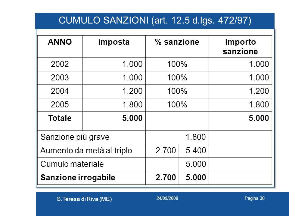 24/09/2008 S.Teresa di Riva (ME) Pagina 38 CUMULO SANZIONI (art. 12.5 d.lgs. 472/97) ANNOimposta% sanzioneImporto sanzione 20021.000100%1.000 20031.00