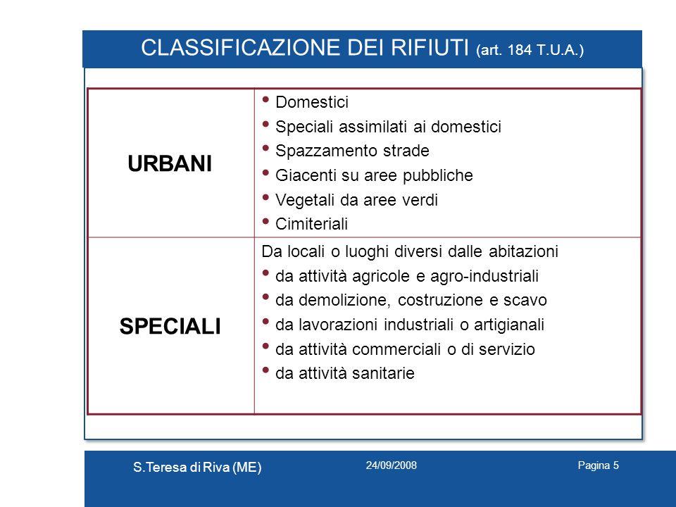 24/09/2008 S.Teresa di Riva (ME) Pagina 5 CLASSIFICAZIONE DEI RIFIUTI (art. 184 T.U.A.) URBANI Domestici Speciali assimilati ai domestici Spazzamento