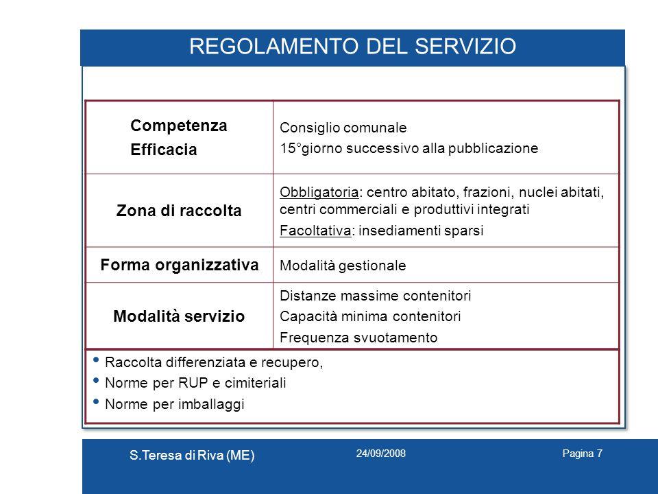 24/09/2008 S.Teresa di Riva (ME) Pagina 7 REGOLAMENTO DEL SERVIZIO Competenza Efficacia Consiglio comunale 15°giorno successivo alla pubblicazione Zon
