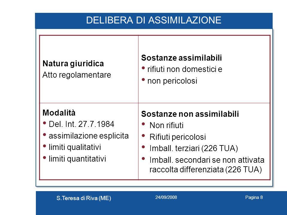 24/09/2008 S.Teresa di Riva (ME) Pagina 8 DELIBERA DI ASSIMILAZIONE Natura giuridica Atto regolamentare Sostanze assimilabili rifiuti non domestici e