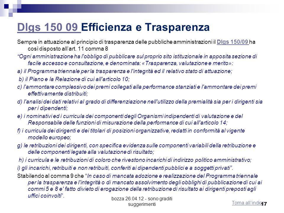 bozza 26.04.12 - sono graditi suggerimenti Dlgs 150 09 Dlgs 150 09 Efficienza e Trasparenza Sempre in attuazione al principio di trasparenza delle pubbliche amministrazioni il Dlgs 150/09 ha così disposto allart.