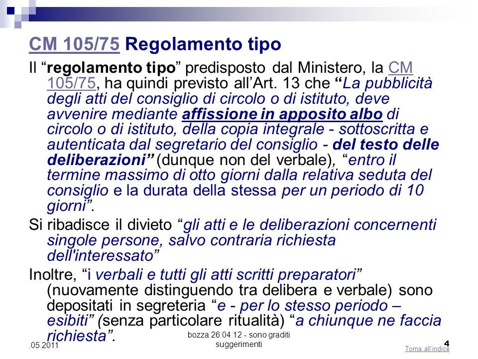 bozza 26.04.12 - sono graditi suggerimenti 4.05.2011 CM 105/75CM 105/75 Regolamento tipo Il regolamento tipo predisposto dal Ministero, la CM 105/75, ha quindi previsto allArt.