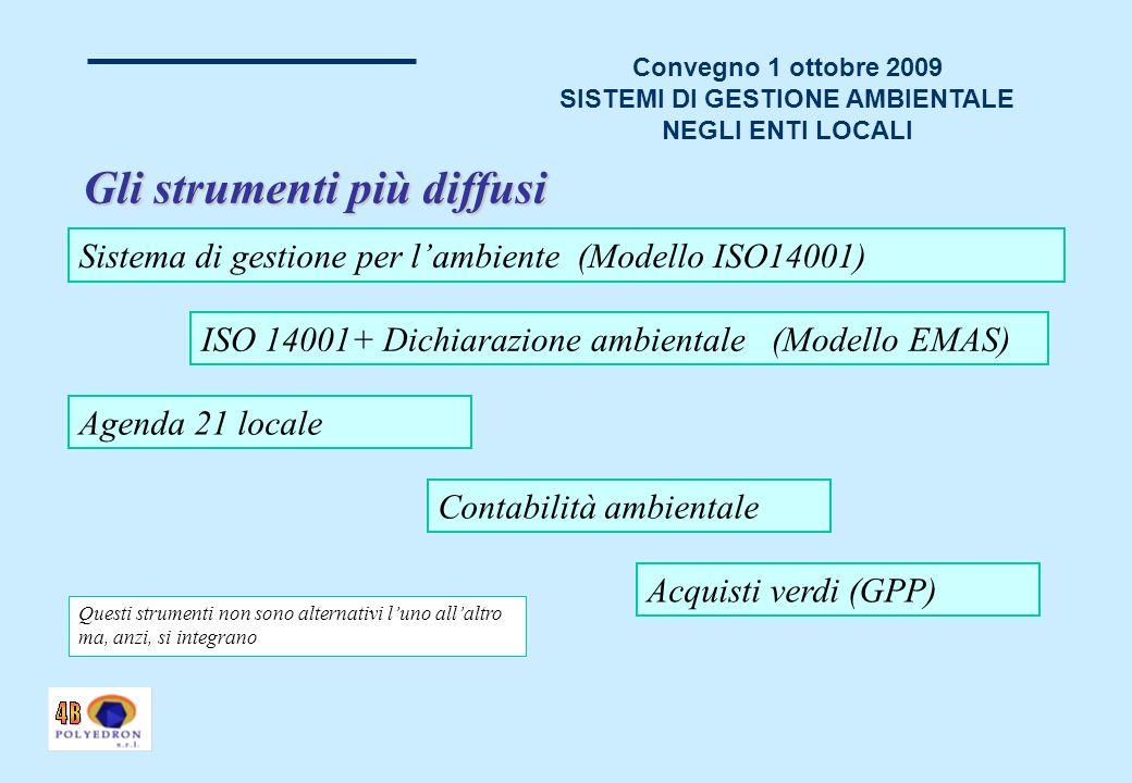 Convegno 1 ottobre 2009 SISTEMI DI GESTIONE AMBIENTALE NEGLI ENTI LOCALI Gli strumenti più diffusi Sistema di gestione per lambiente (Modello ISO14001) Contabilità ambientale Agenda 21 locale Acquisti verdi (GPP) ISO 14001+ Dichiarazione ambientale (Modello EMAS) Questi strumenti non sono alternativi luno allaltro ma, anzi, si integrano