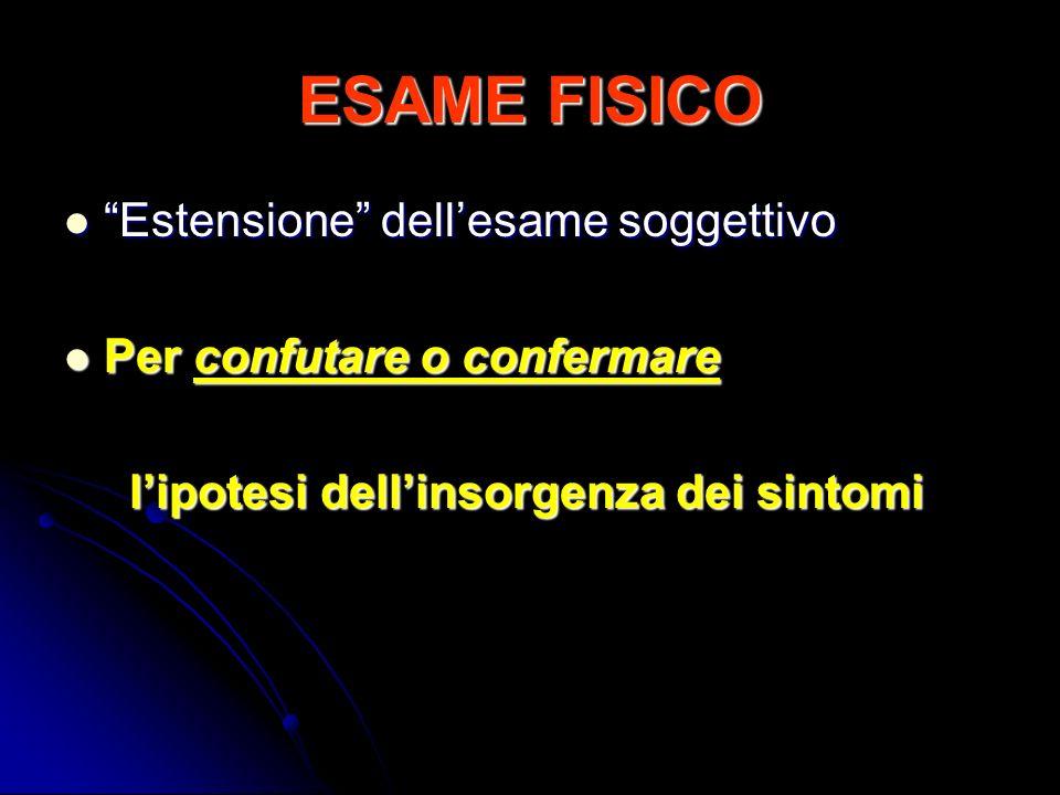 ESAME FISICO Estensione dellesame soggettivo Estensione dellesame soggettivo Per confutare o confermare Per confutare o confermare lipotesi dellinsorg
