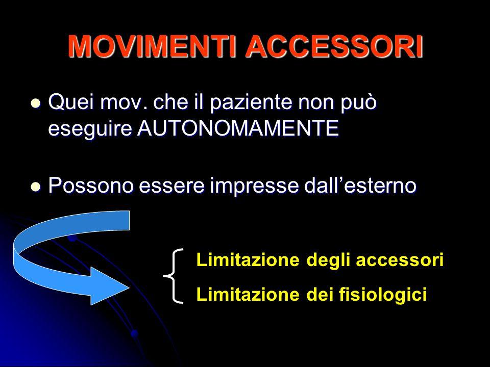 MOVIMENTI ACCESSORI Quei mov. che il paziente non può eseguire AUTONOMAMENTE Quei mov. che il paziente non può eseguire AUTONOMAMENTE Possono essere i