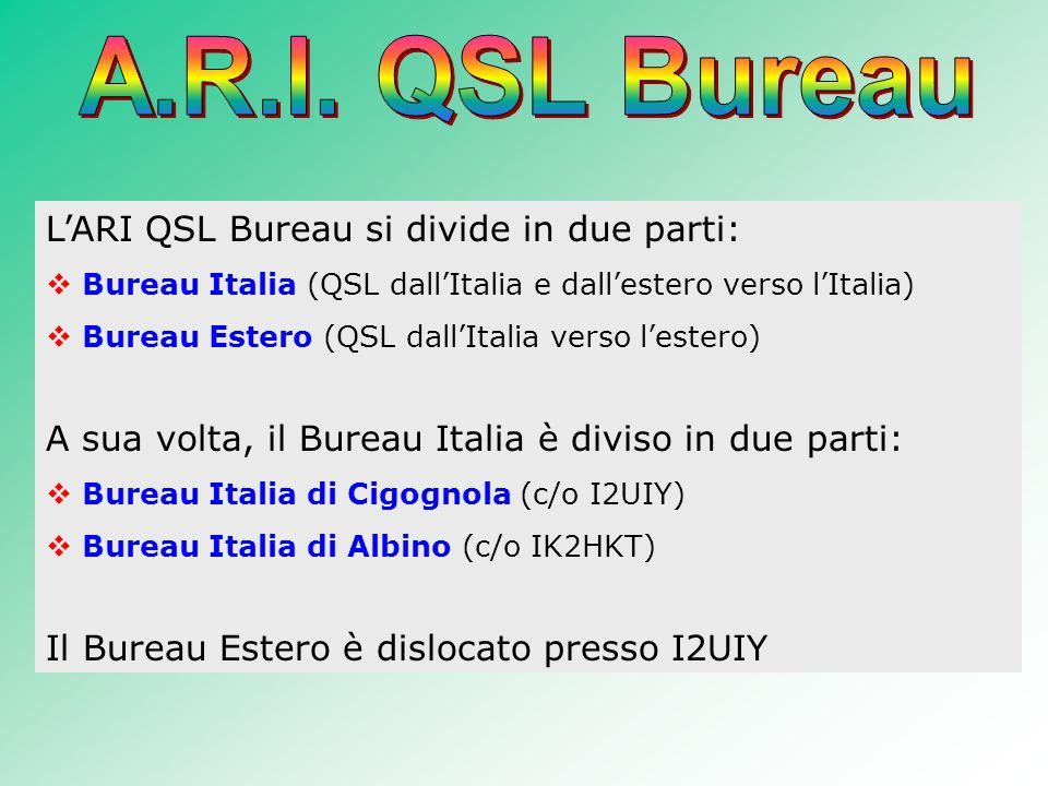 LARI QSL Bureau si divide in due parti: Bureau Italia (QSL dallItalia e dallestero verso lItalia) Bureau Estero (QSL dallItalia verso lestero) A sua volta, il Bureau Italia è diviso in due parti: Bureau Italia di Cigognola (c/o I2UIY) Bureau Italia di Albino (c/o IK2HKT) Il Bureau Estero è dislocato presso I2UIY