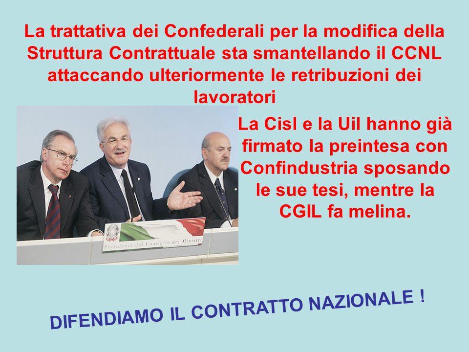 Noi proponiamo il rilancio della Contrattazione Nazionale come strumento di salvaguardia delle retribuzioni liberandola dalla gabbia dellinflazione programmata