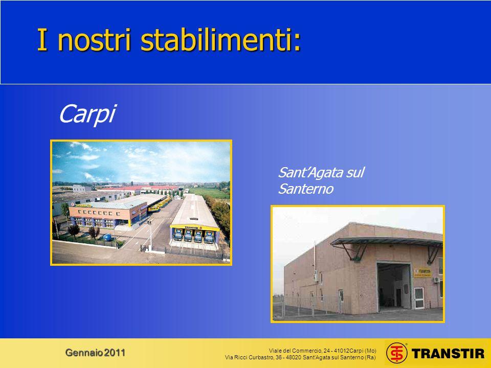 Viale del Commercio, 24 - 41012Carpi (Mo) Via Ricci Curbastro, 36 - 48020 SantAgata sul Santerno (Ra) Gennaio 2011 I nostri stabilimenti: Carpi SantAgata sul Santerno