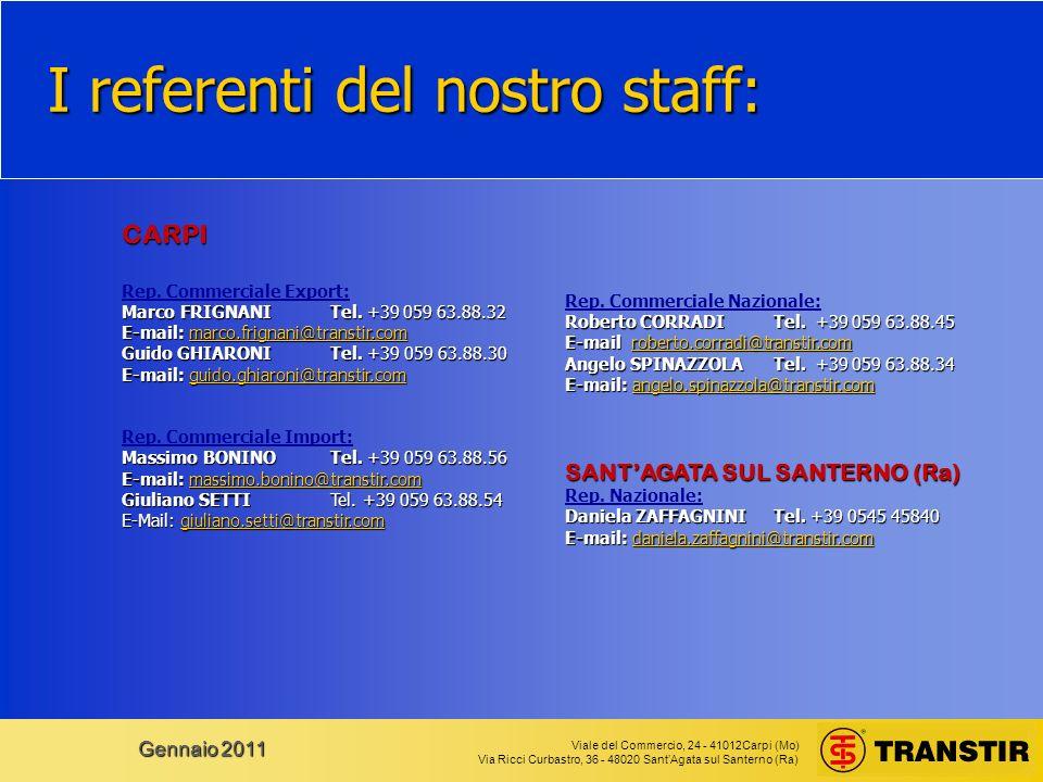 Viale del Commercio, 24 - 41012Carpi (Mo) Via Ricci Curbastro, 36 - 48020 SantAgata sul Santerno (Ra) Gennaio 2011 I referenti del nostro staff: CARPI Rep.