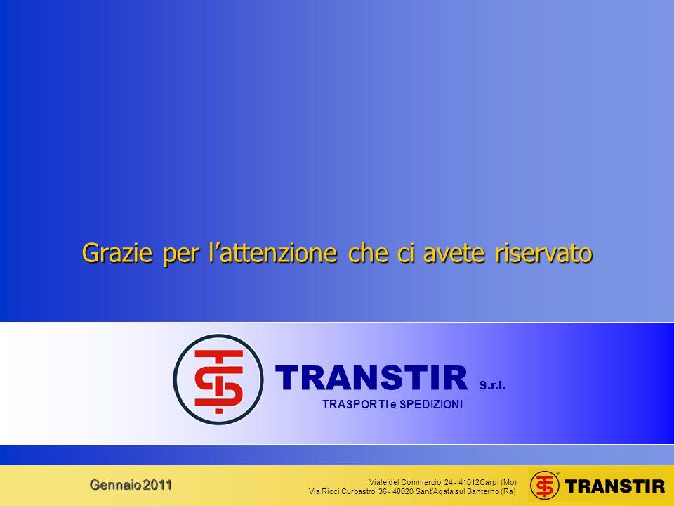 Viale del Commercio, 24 - 41012Carpi (Mo) Via Ricci Curbastro, 36 - 48020 SantAgata sul Santerno (Ra) Gennaio 2011 Grazie per lattenzione che ci avete riservato TRANSTIR S.r.l.