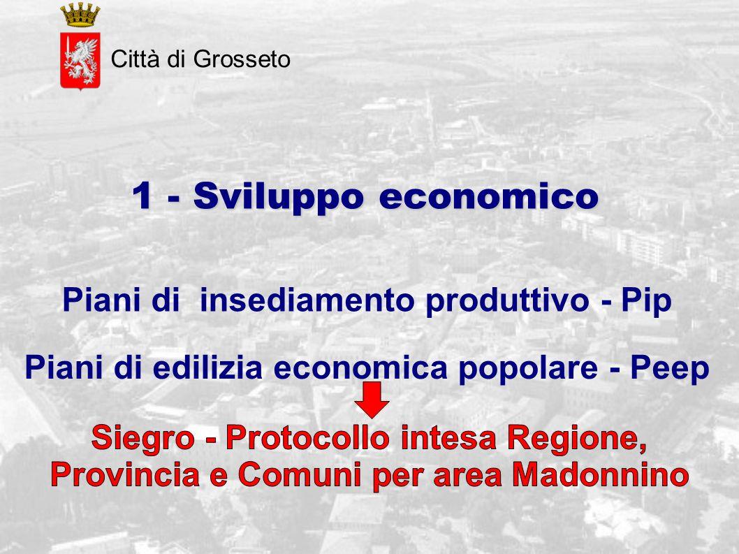 Città di Grosseto 1 - Sviluppo economico Piani di insediamento produttivo - Pip Piani di edilizia economica popolare - Peep