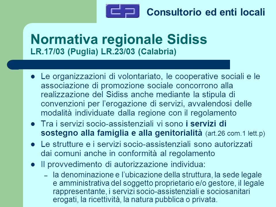 Consultorio ed enti locali Normativa regionale Sidiss LR.17/03 (Puglia) LR.23/03 (Calabria) Le organizzazioni di volontariato, le cooperative sociali