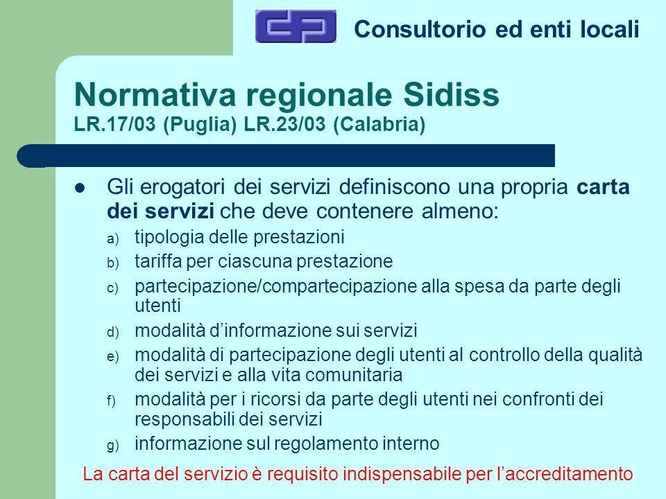Consultorio ed enti locali Normativa regionale Sidiss LR.17/03 (Puglia) LR.23/03 (Calabria) Gli erogatori dei servizi definiscono una propria carta de