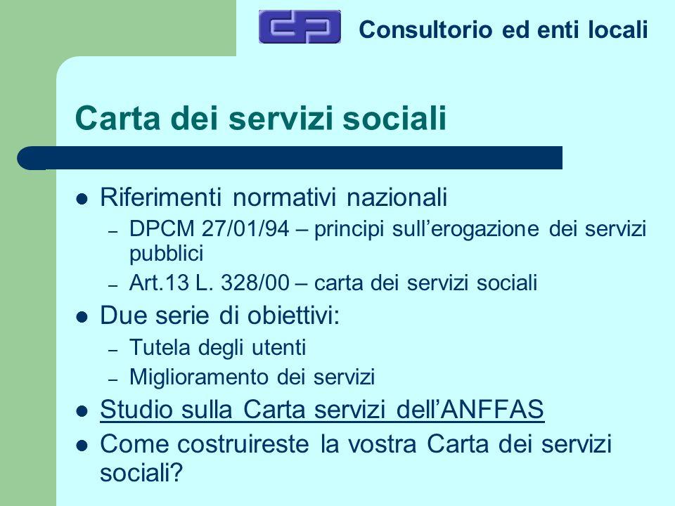 Consultorio ed enti locali Carta dei servizi sociali Riferimenti normativi nazionali – DPCM 27/01/94 – principi sullerogazione dei servizi pubblici –