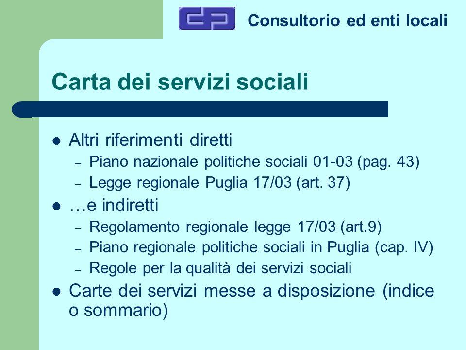 Consultorio ed enti locali Carta dei servizi sociali Altri riferimenti diretti – Piano nazionale politiche sociali 01-03 (pag. 43) – Legge regionale P