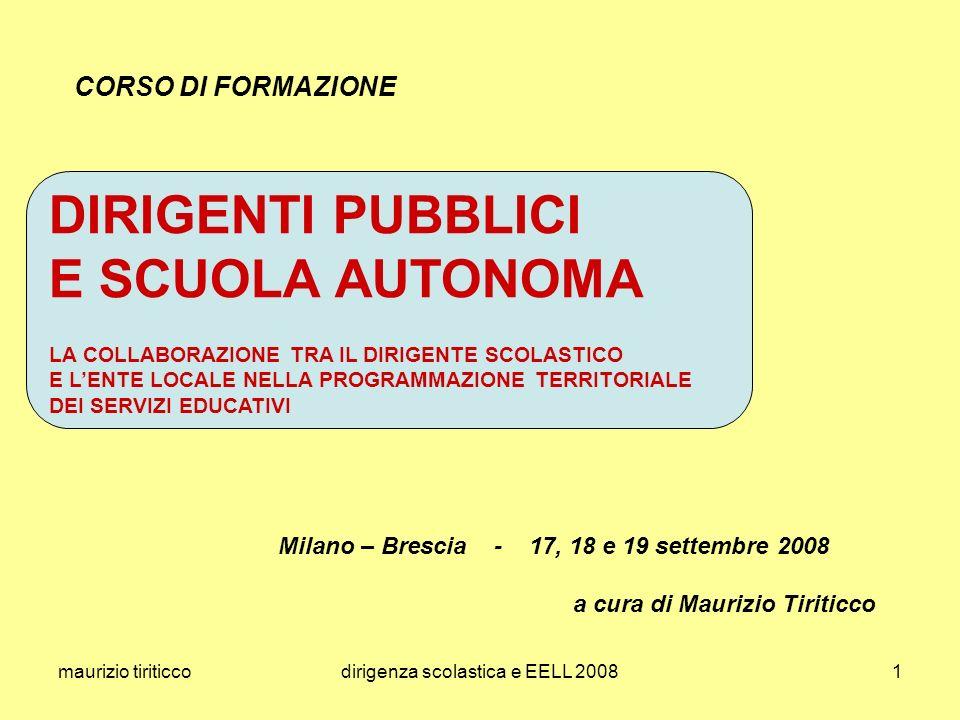 maurizio tiriticcodirigenza scolastica e EELL 20082 premessa