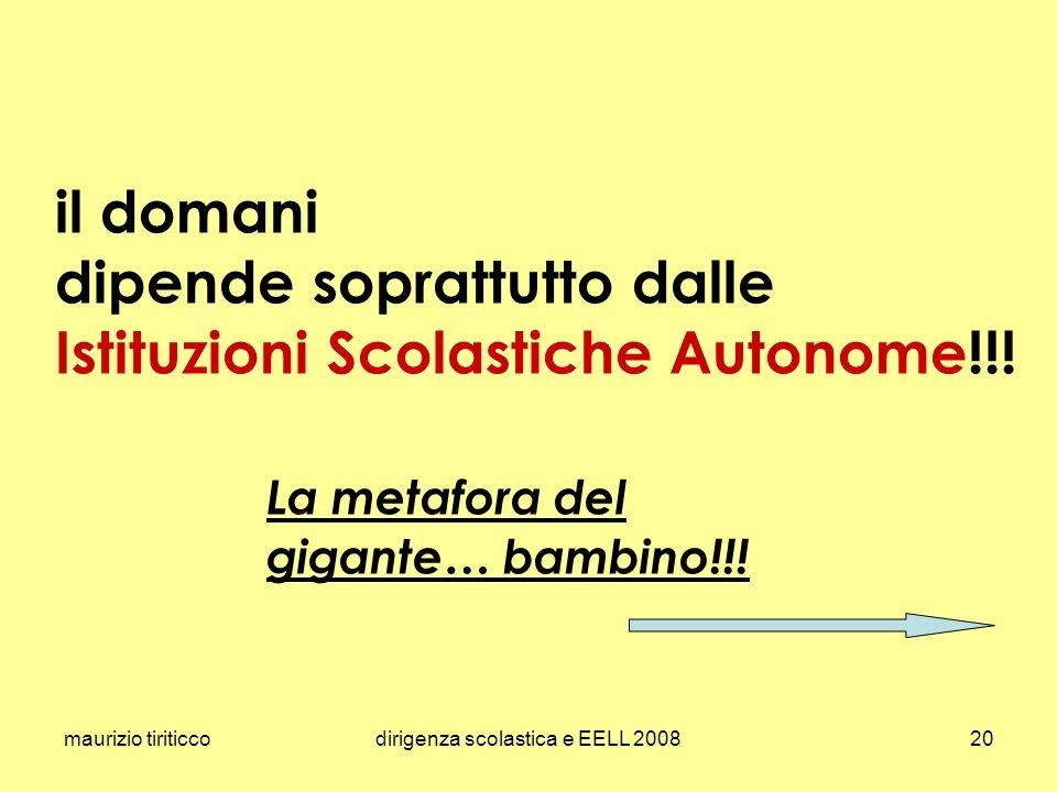 maurizio tiriticcodirigenza scolastica e EELL 200820 il domani dipende soprattutto dalle Istituzioni Scolastiche Autonome!!! La metafora del gigante…