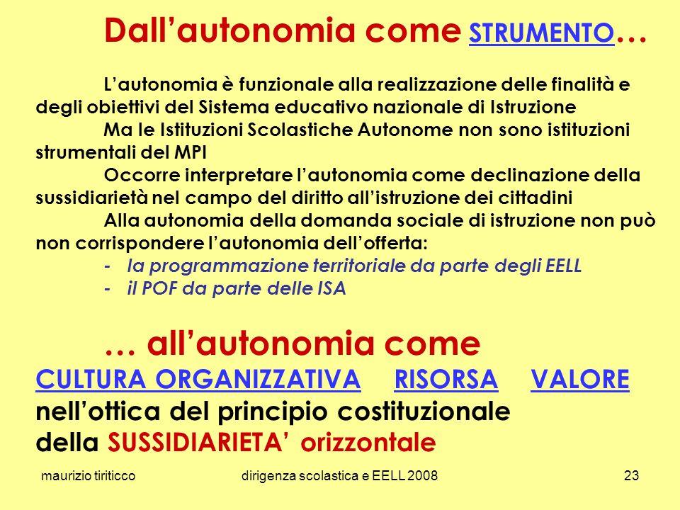 maurizio tiriticcodirigenza scolastica e EELL 200823 Dallautonomia come STRUMENTO … Lautonomia è funzionale alla realizzazione delle finalità e degli