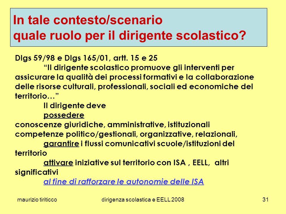 maurizio tiriticcodirigenza scolastica e EELL 200831 Dlgs 59/98 e Dlgs 165/01, artt.