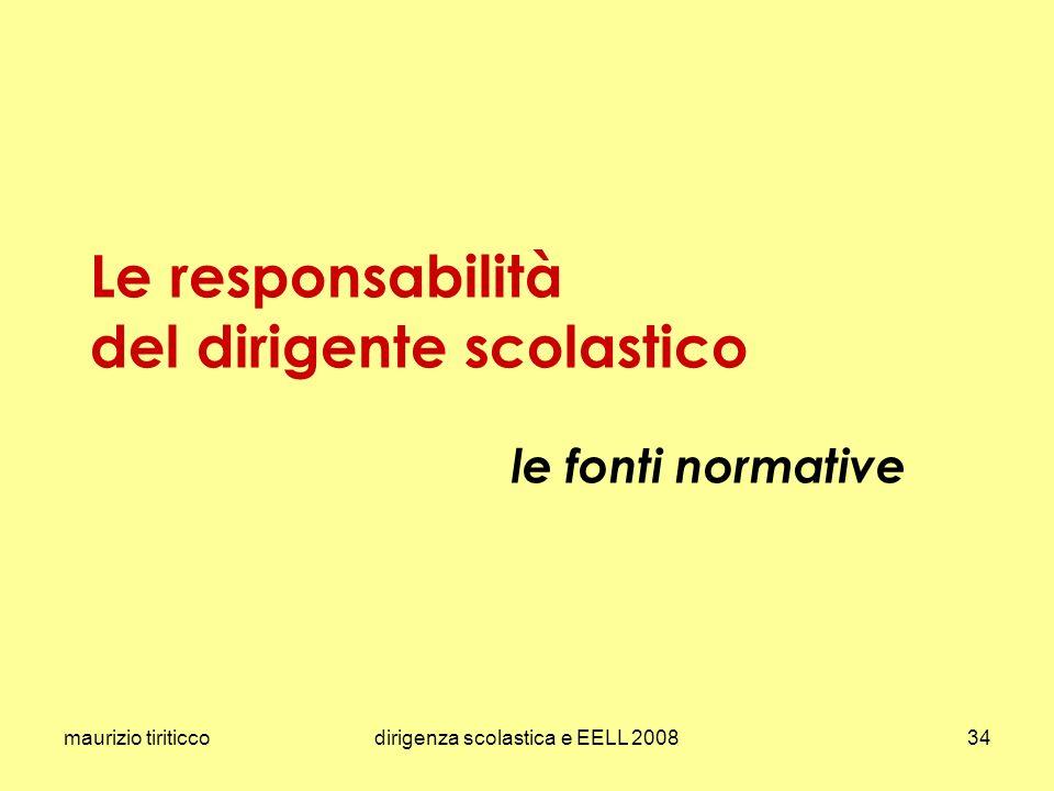 maurizio tiriticcodirigenza scolastica e EELL 200834 Le responsabilità del dirigente scolastico le fonti normative