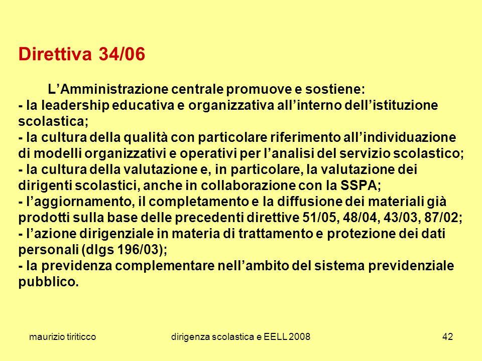 maurizio tiriticcodirigenza scolastica e EELL 200842 Direttiva 34/06 LAmministrazione centrale promuove e sostiene: - la leadership educativa e organi