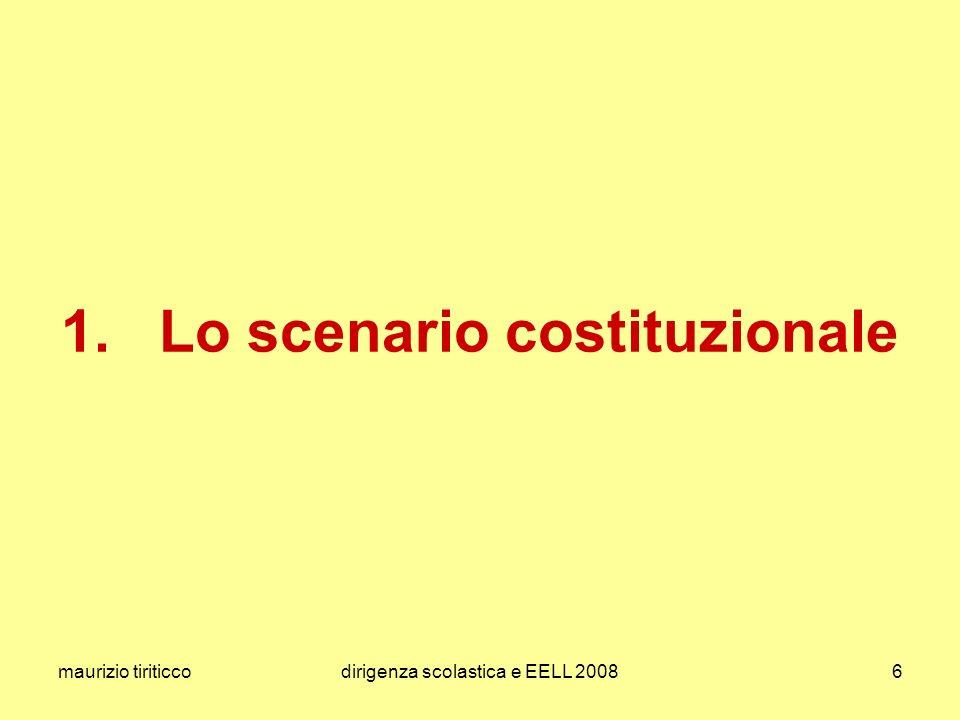maurizio tiriticcodirigenza scolastica e EELL 20086 1. Lo scenario costituzionale