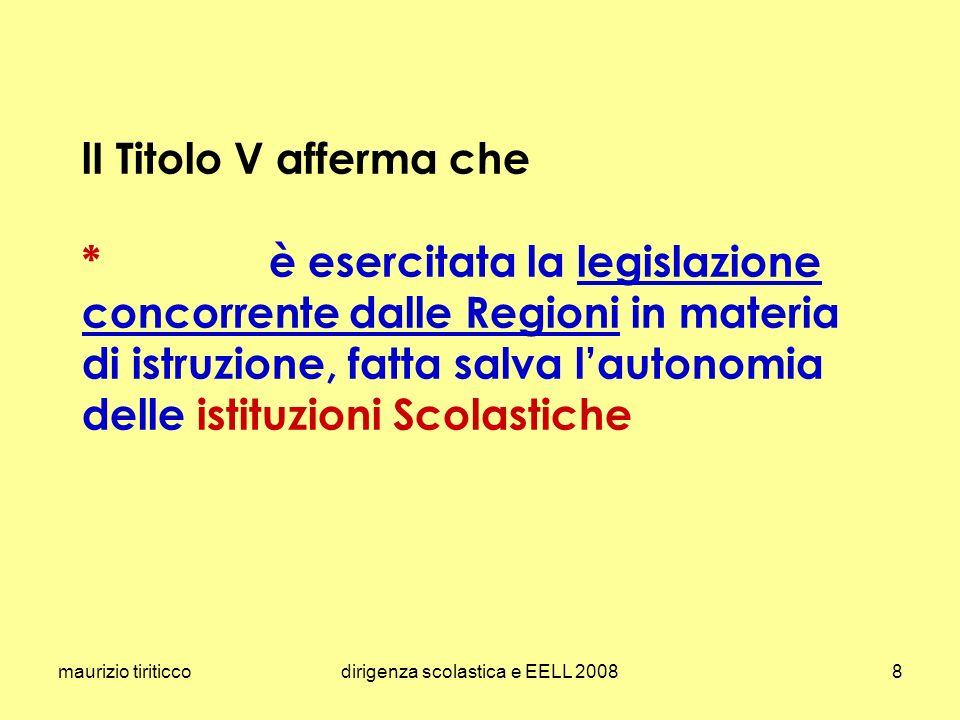 maurizio tiriticcodirigenza scolastica e EELL 20088 lI Titolo V afferma che * è esercitata la legislazione concorrente dalle Regioni in materia di ist