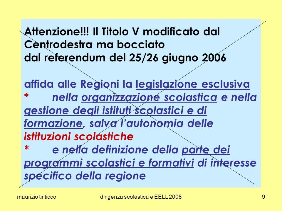 maurizio tiriticcodirigenza scolastica e EELL 200850 DPR 10 luglio 2008, n.