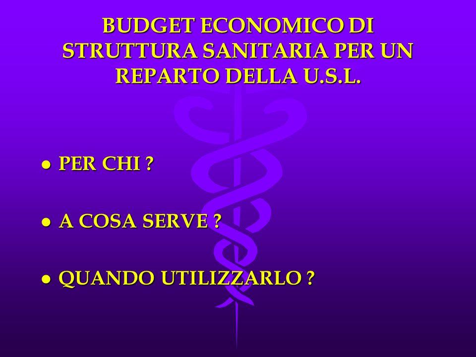 BUDGET ECONOMICO DI STRUTTURA SANITARIA PER UN REPARTO DELLA U.S.L.