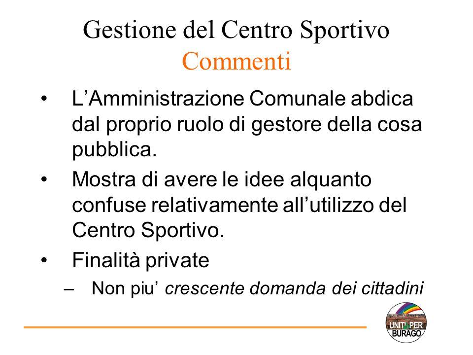 Gestione del Centro Sportivo Commenti LAmministrazione Comunale abdica dal proprio ruolo di gestore della cosa pubblica.