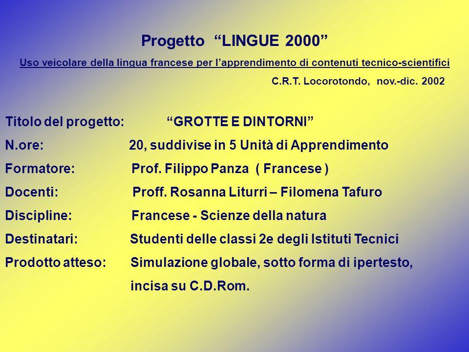 Progetto LINGUE 2000 Uso veicolare della lingua francese per lapprendimento di contenuti tecnico-scientifici C.R.T. Locorotondo, nov.-dic. 2002 Titolo