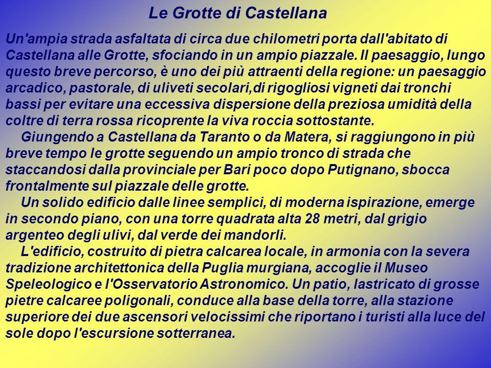 Le Grotte di Castellana Un'ampia strada asfaltata di circa due chilometri porta dall'abitato di Castellana alle Grotte, sfociando in un ampio piazzale