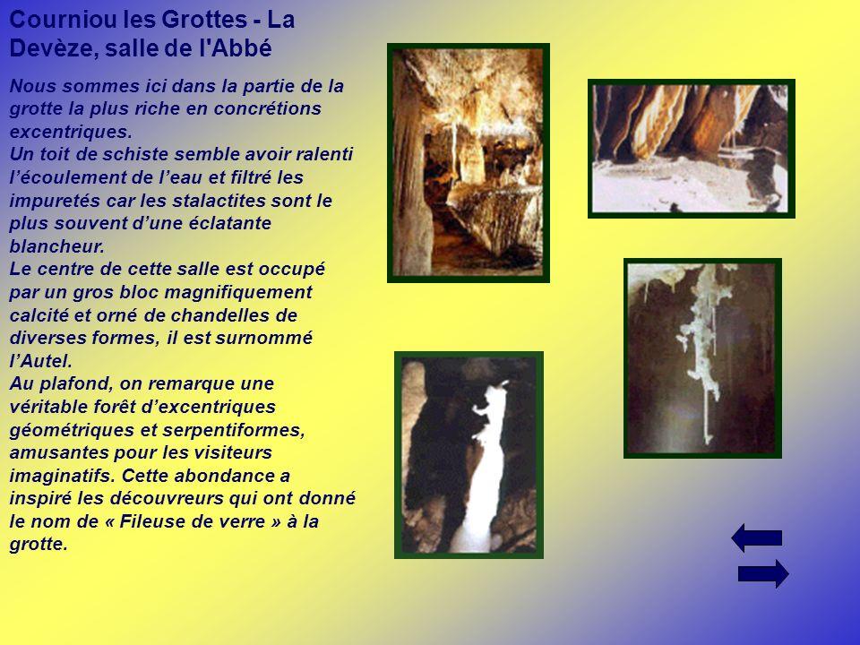 Courniou les Grottes - La Devèze, salle de l'Abbé Nous sommes ici dans la partie de la grotte la plus riche en concrétions excentriques. Un toit de sc