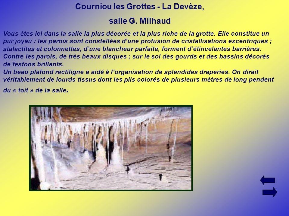 Courniou les Grottes - La Devèze, salle G. Milhaud Vous êtes ici dans la salle la plus décorée et la plus riche de la grotte. Elle constitue un pur jo