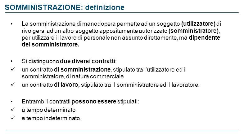 SOMMINISTRAZIONE: definizione La somministrazione di manodopera permette ad un soggetto (utilizzatore) di rivolgersi ad un altro soggetto appositament